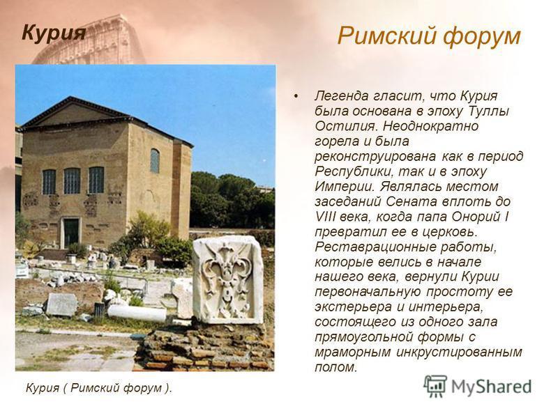 Легенда гласит, что Курия была основана в эпоху Туллы Остилия. Неоднократно горела и была реконструирована как в период Республики, так и в эпоху Империи. Являлась местом заседаний Сената вплоть до VIII века, когда папа Онорий I превратил ее в церков