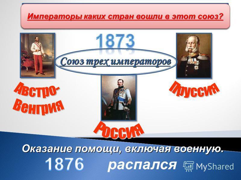 Союз трех императоров Оказание помощи, включая военную. распался Участие России в формировании военно- политических блоков Какой союз образовался в Европе в 1873 г. ? Императоры каких стран вошли в этот союз?