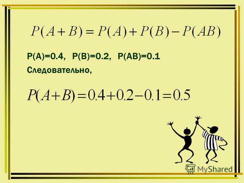 Р(А)=0.4, Р(В)=0.2, Р(АВ)=0.1 Следовательно,