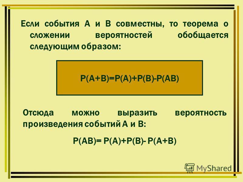 Если события А и В совместны, то теорема о сложении вероятностей обобщается следующим образом: Р(А+В)=Р(А)+Р(В)-Р(АВ) Отсюда можно выразить вероятность произведения событий А и В: Р(АВ)= Р(А)+Р(В)- Р(А+В)