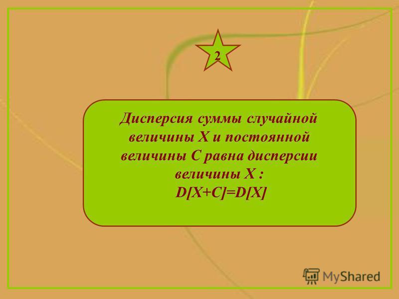 Дисперсия суммы случайной величины Х и постоянной величины С равна дисперсии величины Х : D[X+С]=D[X] 2