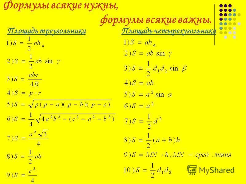 Формулы всякие нужны, формулы всякие важны. Площадь треугольника Площадь четырехугольника