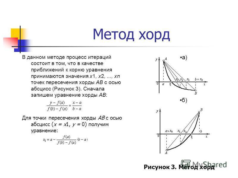 Метод хорд В данном методе процесс итераций состоит в том, что в качестве приближений к корню уравнения принимаются значения х 1, х 2,..., хn точек пересечения хорды АВ с осью абсцисс (Рисунок 3). Сначала запишем уравнение хорды AB: Для точки пересеч