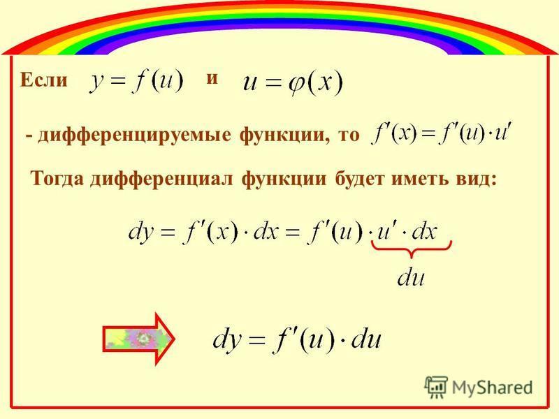 Если и - дифференцируемые функции, то Тогда дифференциал функции будет иметь вид: