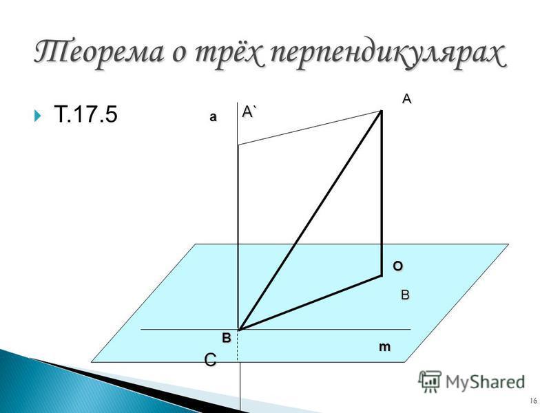 16 Теорема о трёх перпендикулярах Т.17.5 С В А А` m О В а