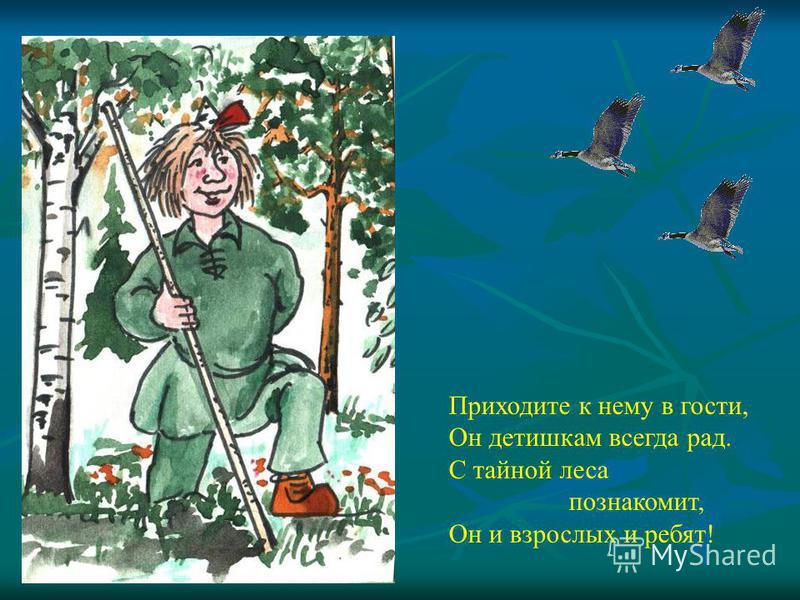 Приходите к нему в гости, Он детишкам всегда рад. С тайной леса познакомит, Он и взрослых и ребят!