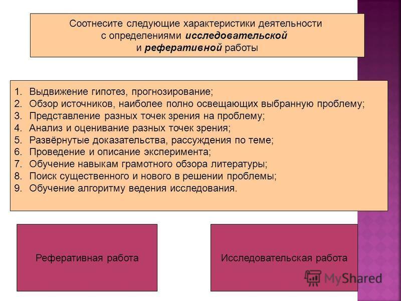 Соотнесите следующие характеристики деятельности с определениями исследовательской и реферативной работы 1. Выдвижение гипотез, прогнозирование; 2. Обзор источников, наиболее полно освещающих выбранную проблему; 3. Представление разных точек зрения н