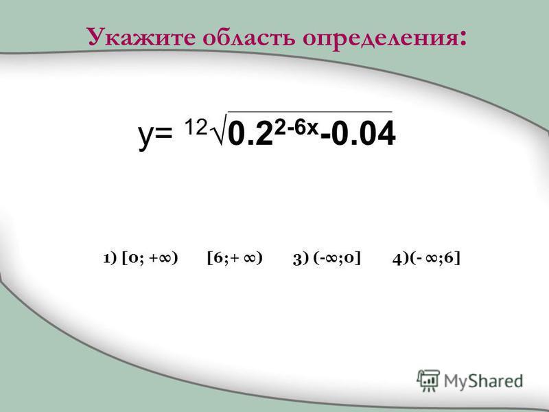 y= 12 0.2 2-6x -0.04 1) [0; +) [6;+ )3) (-;0]4)(- ;6] Укажите область определения :