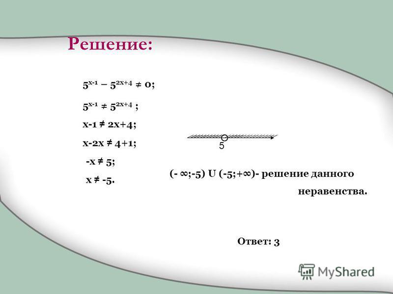 5 x-1 – 5 2x+4 0; 5 x-1 5 2x+4 ; x-1 2x+4; x-2x 4+1; -x 5; x -5. 5 (- ;-5) U (-5;+)- решение данного неравенства. Ответ: 3 Решение: