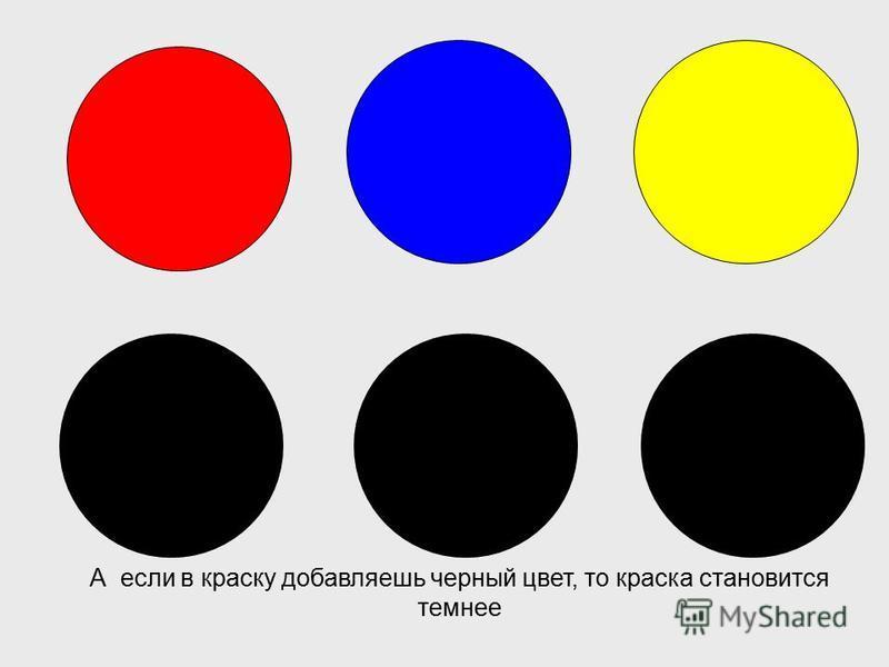 Запомни, если в краску добавляешь белый цвет, она становится светлее