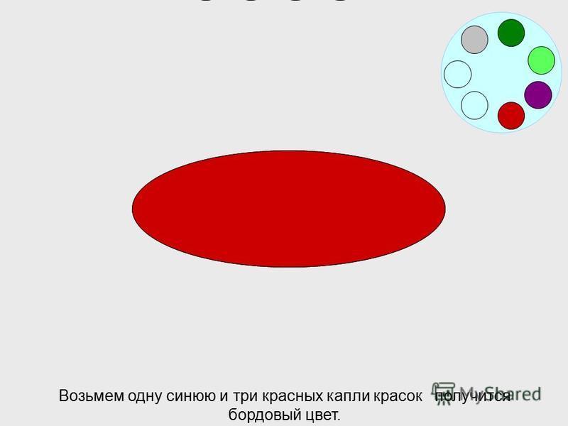 Если смешаем две синих и две красных капли красок получим фиолетовый цвет.