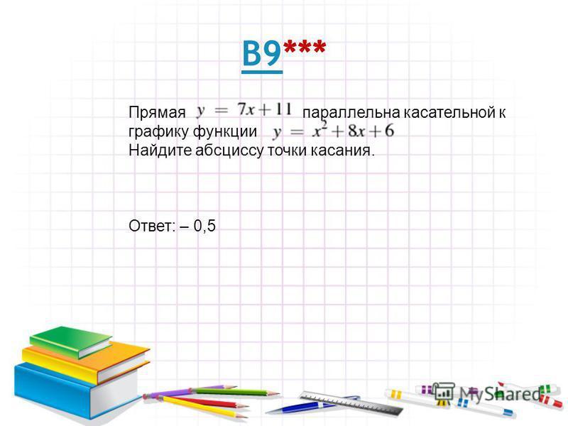 В9В9*** Прямая параллельна касательной к графику функции Найдите абсциссу точки касания. Ответ: – 0,5