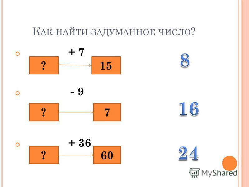 К АК НАЙТИ ЗАДУМАННОЕ ЧИСЛО ? + 7 - 9 + 36 ?15 ?7 ?60