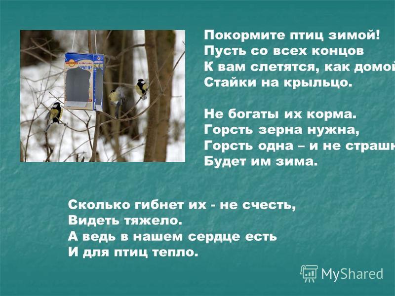 Покормите птиц зимой! Пусть со всех концов К вам слетятся, как домой, Стайки на крыльцо. Не богаты их корма. Горсть зерна нужна, Горсть одна – и не страшна Будет им зима. Сколько гибнет их - не счесть, Видеть тяжело. А ведь в нашем сердце есть И для