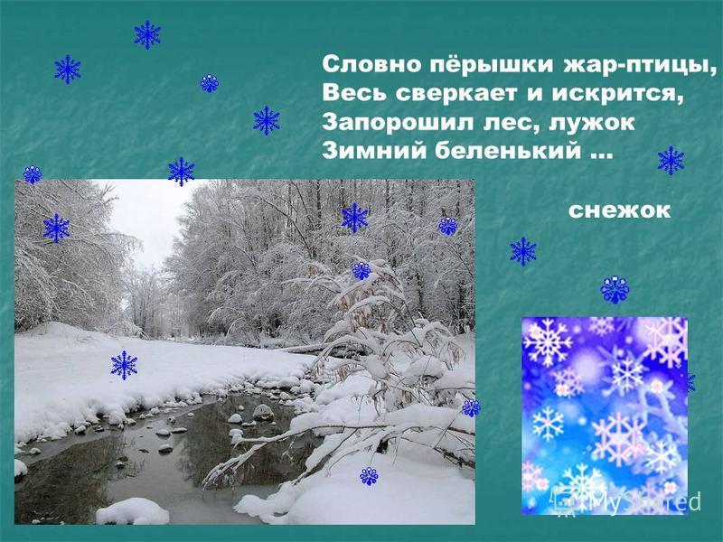 Словно пёрышки жар-птицы, Весь сверкает и искрится, Запорошил лес, лужок Зимний беленький … снежок