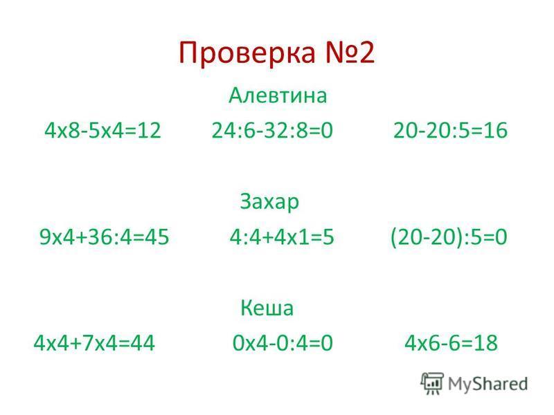 Проверка 2 Алевтина 4 х 8-5 х 4=12 24:6-32:8=0 20-20:5=16 Захар 9 х 4+36:4=45 4:4+4 х 1=5 (20-20):5=0 Кеша 4 х 4+7 х 4=44 0 х 4-0:4=0 4 х 6-6=18