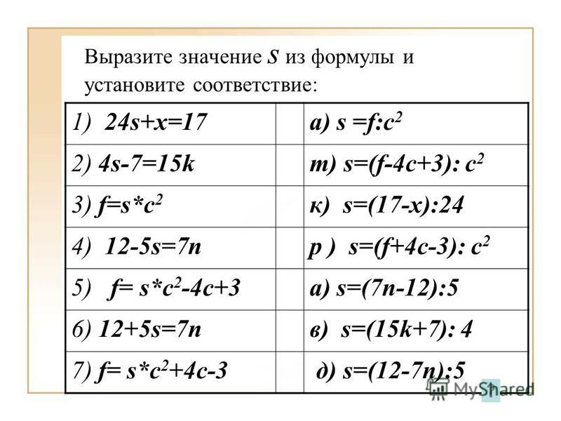 Выразите значение s из формулы и установите соответствие: 1) 24s+x=17a) s =f:c 2 2) 4s-7=15kт) s=(f-4c+3): c 2 3) f=s*c 2 к) s=(17-x):24 4) 12-5s=7nр ) s=(f+4c-3): c 2 5) f= s*c 2 -4c+3 а) s=(7n-12):5 6) 12+5s=7nв) s=(15k+7): 4 7) f= s*c 2 +4c-3 д) s