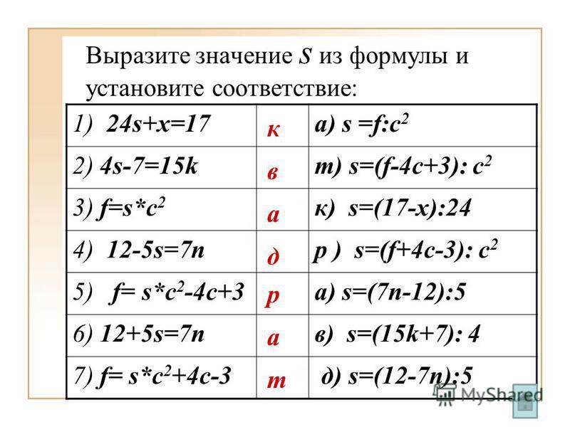 Выразите значение s из формулы и установите соответствие: 1) 24s+x=17 a) s =f:c 2 2) 4s-7=15k т) s=(f-4c+3): c 2 3) f=s*c 2 к) s=(17-x):24 4) 12-5s=7n р ) s=(f+4c-3): c 2 5) f= s*c 2 -4c+3 а) s=(7n-12):5 6) 12+5s=7n в) s=(15k+7): 4 7) f= s*c 2 +4c-3