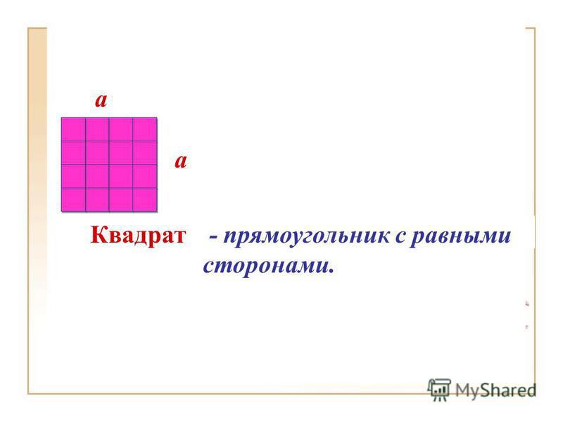 Квадрат - прямоугольник с равными сторонами. a a