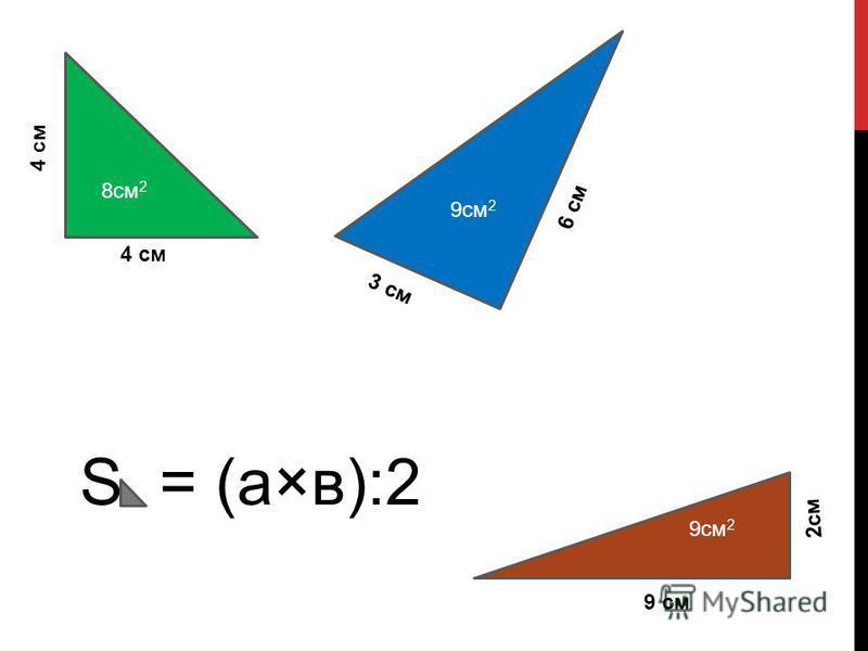 8 см 2 4 см 6 см 3 см 2 см 9 см S = (а×в):2 9 см 2