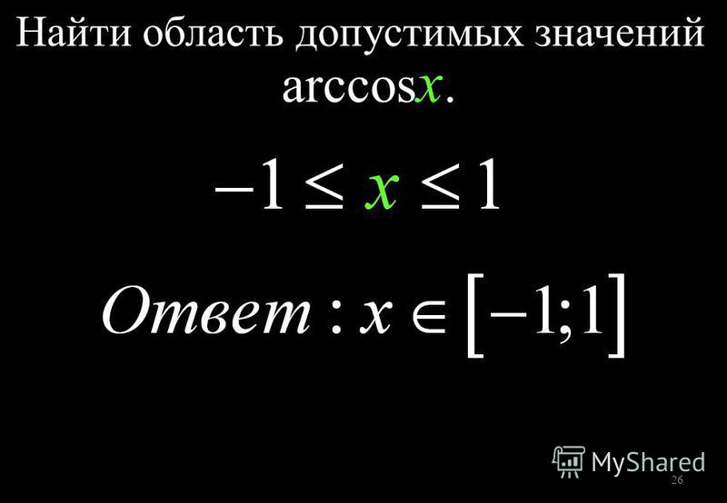 26 Найти область допустимых значений arccos x.