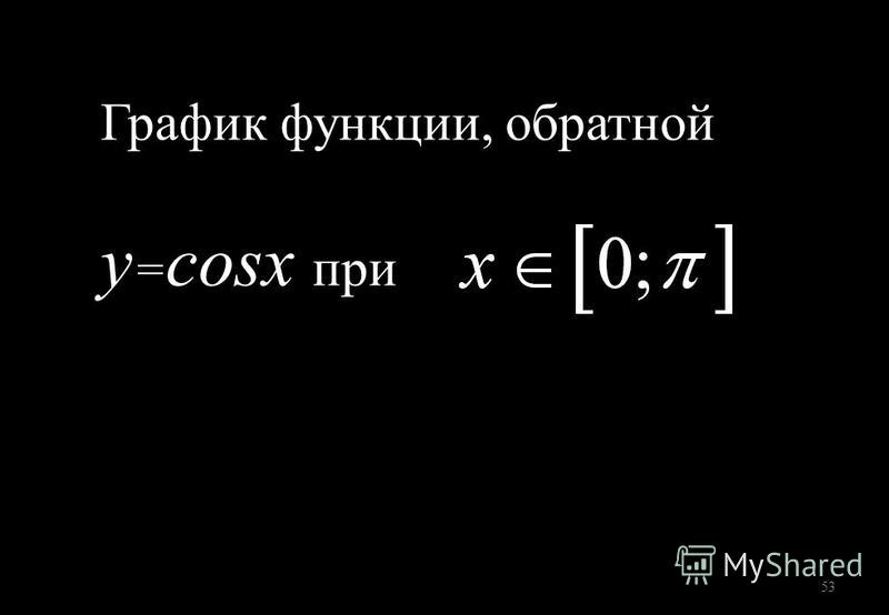 53 График функции, обратной y = cosx при