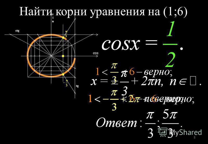 8 tg ctg cos Найти корни уравнения на (1;6)
