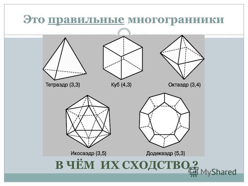 Это правильные многогранники В ЧЁМ ИХ СХОДСТВО ?