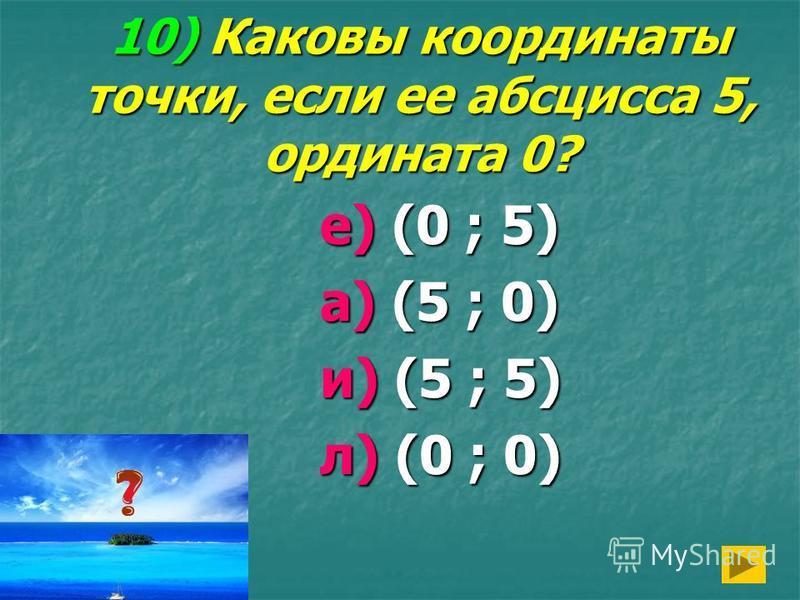 10) Каковы координаты точки, если ее абсцисса 5, ордината 0? е) (0 ; 5) а) (5 ; 0) и) (5 ; 5) л) (0 ; 0)