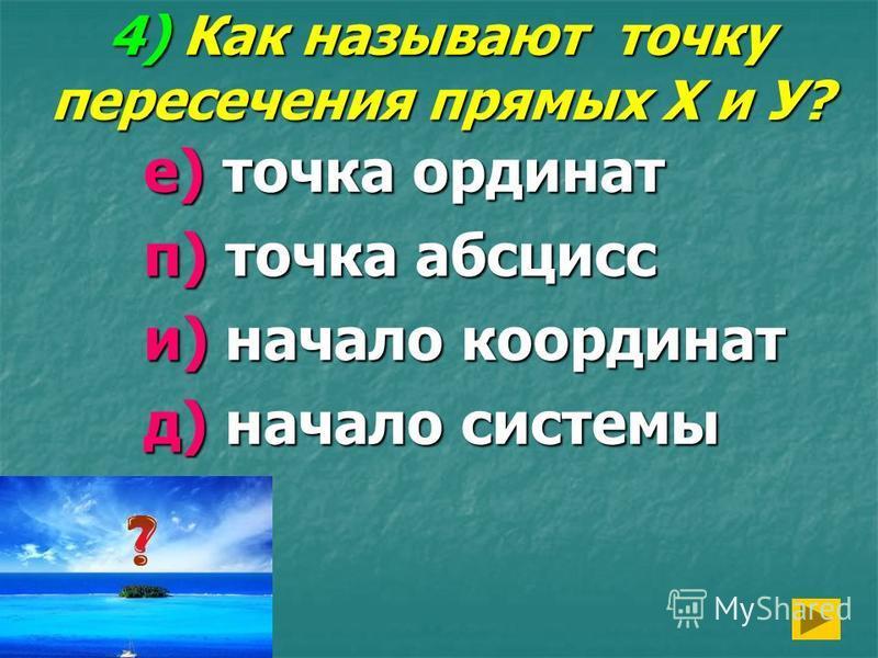 4) Как называют точку пересечения прямых Х и У? е) точка ординат п) точка абсцисс и) начало координат д) начало системы
