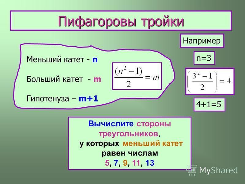 Меньший катет - n Больший катет - m Гипотенуза – m+1 Например n=3 4+1=5 Пифагоровы тройки Вычислите стороны треугольников, у которых меньший катет равен числам 5, 7, 9, 11, 13