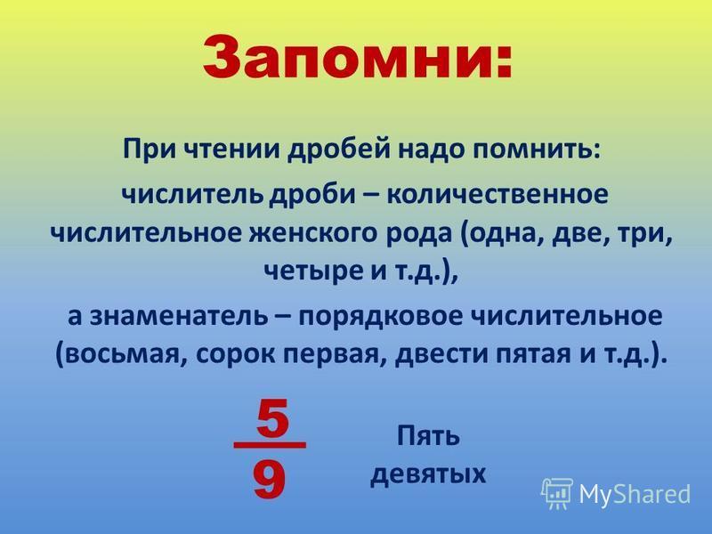 Запомни: При чтении дробей надо помнить: числитель дроби – количественное числительное женского рода (одна, две, три, четыре и т.д.), а знаменатель – порядковое числительное (восьмая, сорок первая, двести пятая и т.д.). 5 9 Пять девятых