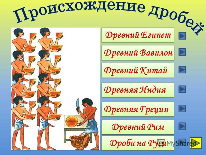 Древний Рим Древний Египет Древний Вавилон Древняя Греция Древний Китай Древняя Индия Дроби на Руси