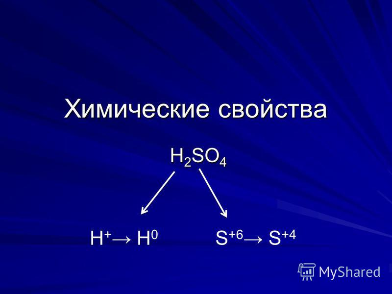 Химические свойства H 2 SO 4 H + H 0 S +6 S +4