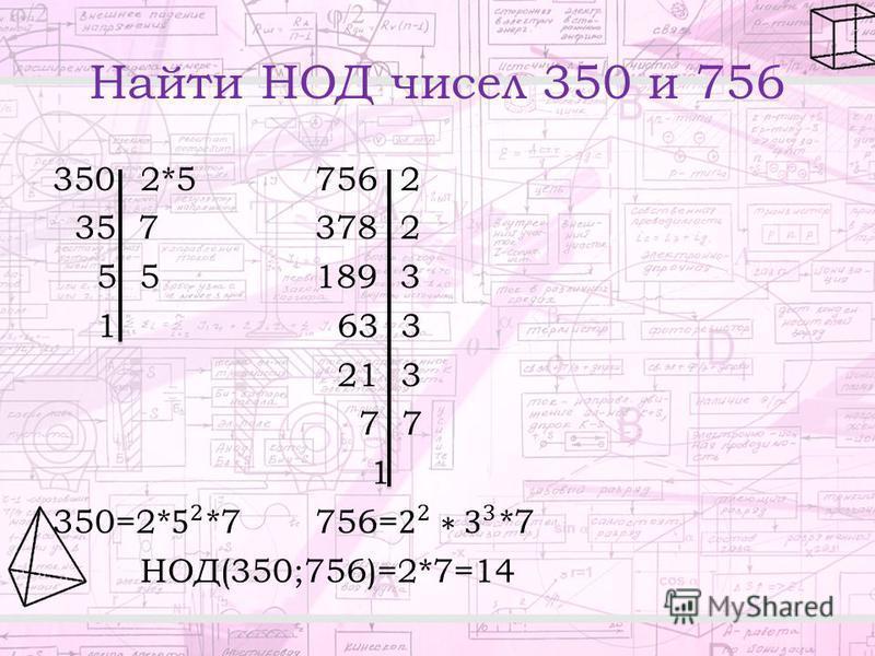 Найти НОД чисел 350 и 756