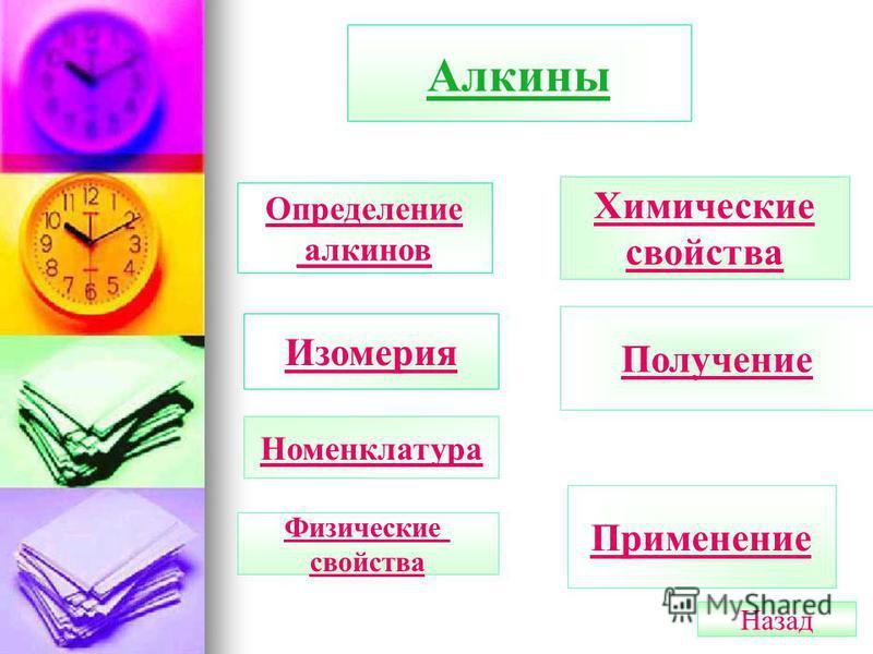 Алкины Определение алкинов Изомерия Номенклатура Химические свойства Получение Применение Физические свойства Назад