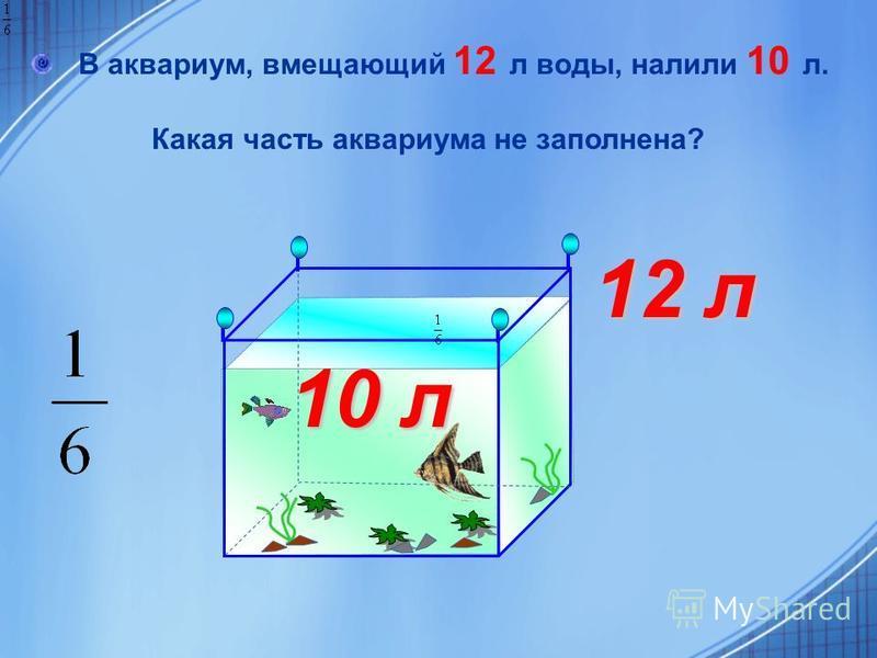 В аквариум, вмещающий 12 л воды, налили 10 л. Какая часть аквариума не заполнена? 10 л 12 л