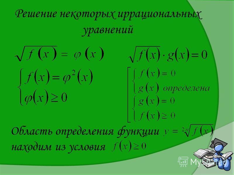 Решение некоторых иррациональных уравнений Область определения функции находим из условия