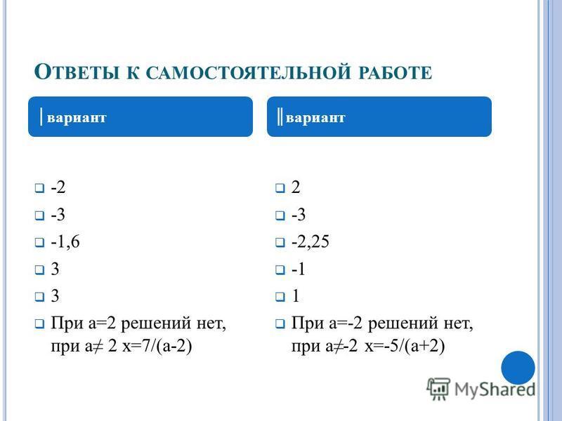 О ТВЕТЫ К САМОСТОЯТЕЛЬНОЙ РАБОТЕ -2 -3 -1,6 3 3 При а=2 решений нет, при а 2 х=7/(а-2) 2 -3 -2,25 1 При а=-2 решений нет, при а-2 х=-5/(а+2) вариант