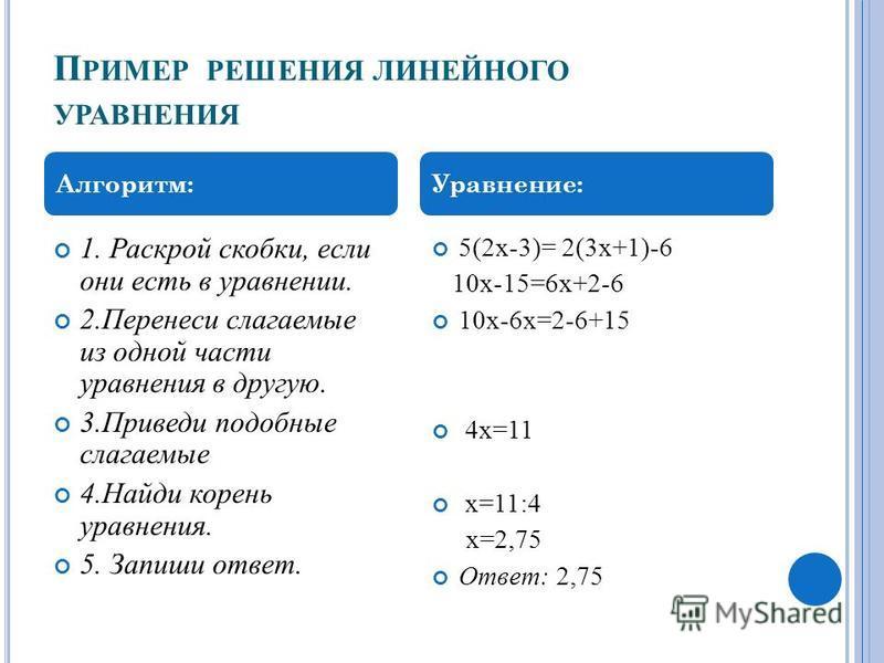 П РИМЕР РЕШЕНИЯ ЛИНЕЙНОГО УРАВНЕНИЯ 1. Раскрой скобки, если они есть в уравнении. 2. Перенеси слагаемые из одной части уравнения в другую. 3. Приведи подобные слагаемые 4. Найди корень уравнения. 5. Запиши ответ. 5(2 х-3)= 2(3 х+1)-6 10 х-15=6 х+2-6