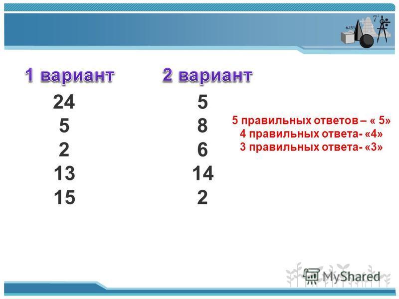 24 5 5 8 2 6 13 14 15 2 5 правильных ответов – « 5» 4 правильных ответа- «4» 3 правильных ответа- «3»