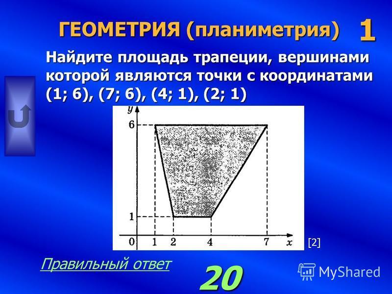 ГЕОМЕТРИЯ (планиметрия) Найдите площадь треугольника ABC. 1 6 Правильный ответ [2][2]