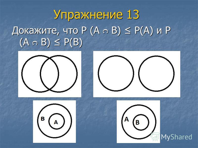 Упражнение 13 Докажите, что Р (А В) Р(А) и Р (А В) Р(В)