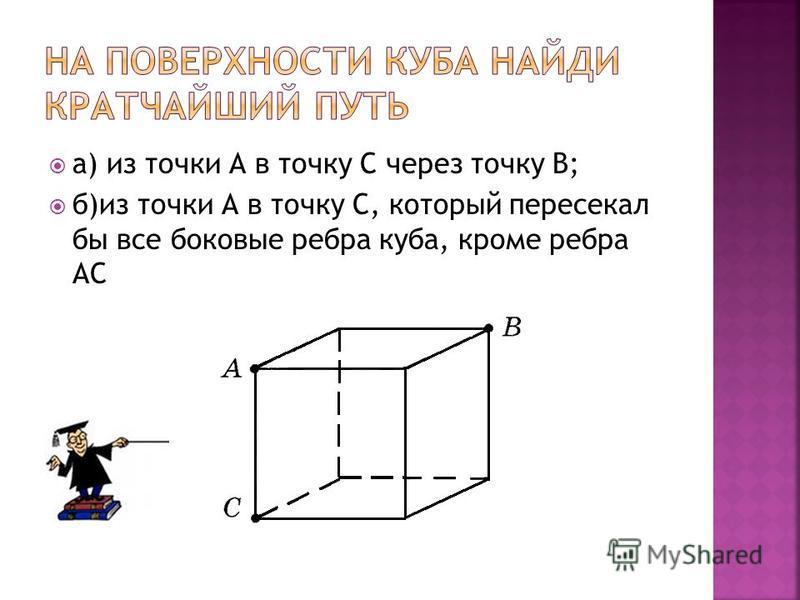 а) из точки А в точку С через точку В; б)из точки А в точку С, который пересекал бы все боковые ребра куба, кроме ребра АС
