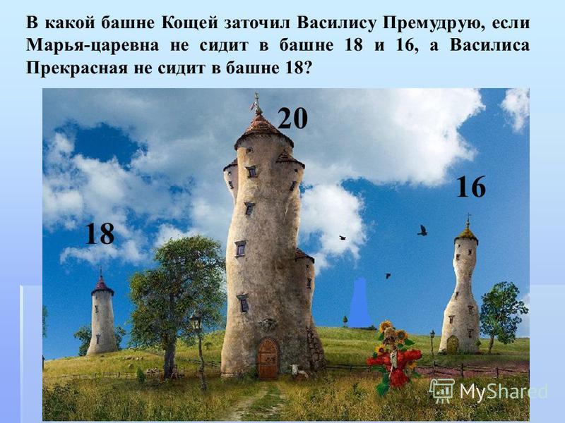В какой башне Кощей заточил Василису Премудрую, если Марья-царевна не сидит в башне 18 и 16, а Василиса Прекрасная не сидит в башне 18? 18 20 16