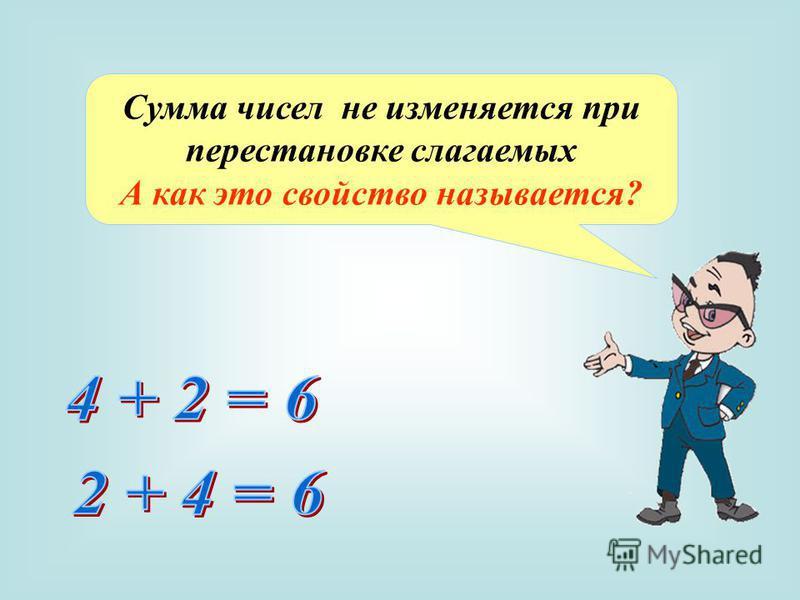 Сумма чисел не изменяется при перестановке слагаемых А как это свойство называется?