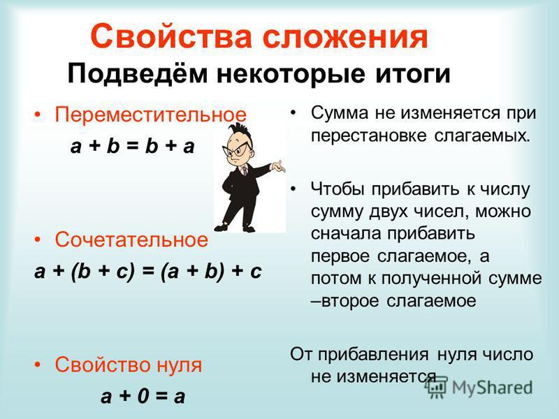 Свойства сложения Подведём некоторые итоги Переместительное a + b = b + a Сочетательное a + (b + c) = (a + b) + c Свойство нуля а + 0 = а Сумма не изменяется при перестановке слагаемых. Чтобы прибавить к числу сумму двух чисел, можно сначала прибавит