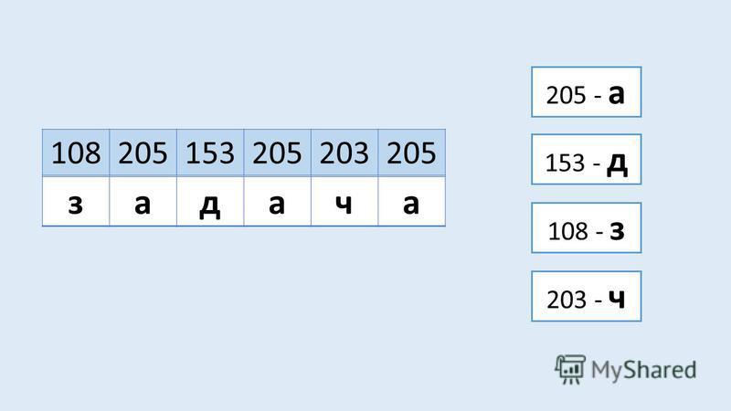 108205153205203205 задача 205 - а 108 - з 153 - д 203 - ч