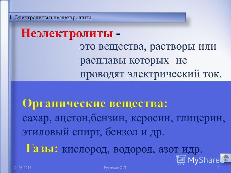 + + + + - - - - Анионы Катионы Анод Катод - + 24.08.20156 Русецкая О. П. Рис.2.