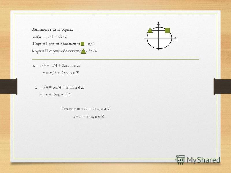 Запишем в двух сериях sin(x – π/4) = 2/2 Корни I серии обозначим - π/4 Корни II серии обозначим - 3π/4 x – π/4 = π/4 + 2πn, n Z x = π/2 + 2πn, n Z x – π/4 = 3π/4 + 2πn, n Z x= π + 2πn, n Z Ответ: x = π/2 + 2πn, n Z x= π + 2πn, n Z